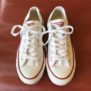Worn once converse white all star low cut sneakers
